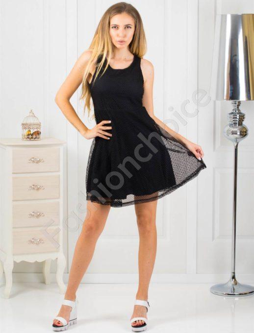 Μαύρο φόρεμα με δίχτυ κωδ 868