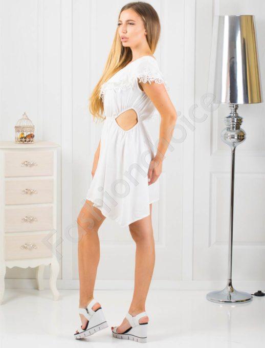 Ασύμμετρο λευκό φόρεμα με βολάν κωδ 870-1