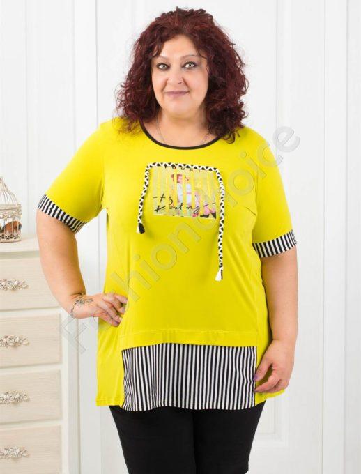 Τούνικ plus size σε κίτρινο με κορδόνι κωδ 1119-1
