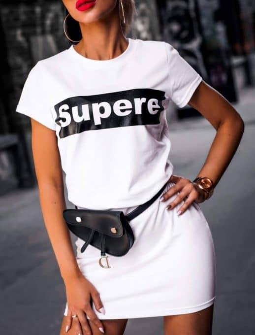 Λευκό φόρεμα με επιγραφή κωδ 861