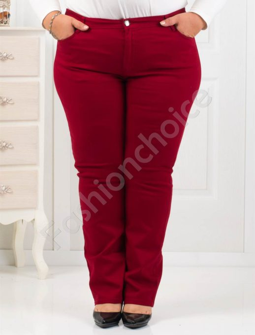 Βαμβακερό μπορντό παντελόνι plus size κωδ 1013-1