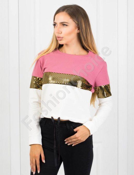 Μπλούζα σε ροζ με χρυσή ρίγα κωδ 1240-1