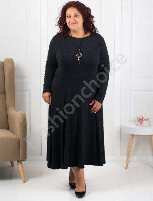 Φόρεμα σε μαύρο με δώρο κολιέ κωδ 6085-1