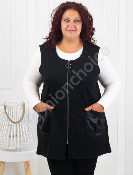 Μαύρο γιλέκο με τσέπες και φερμουάρ κωδ1128