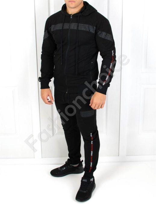 Μαύρο αθλητικό σετ με λεπτομέρεια δερματίνη κωδ 501