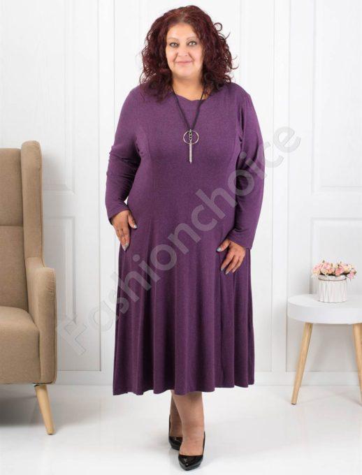 Φόρεμα σε μοβ με δώρο κολιέ κωδ 6085-31