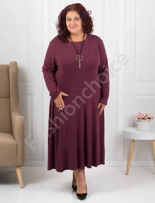 Φόρεμα σε μπορντό με δώρο κολιέ κωδ 6085-32