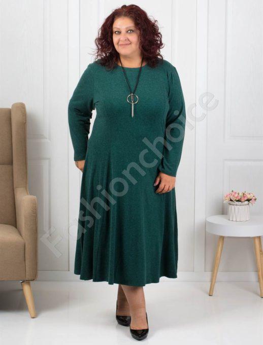 Φόρεμα σε πράσινο με δώρο κολιέ κωδ 6085-33