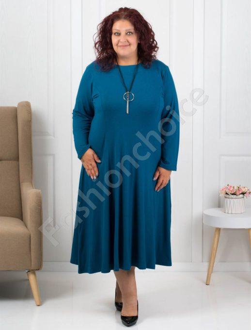 Φόρεμα σε μπλε πετρόλ χρώμα με δώρο κολιέ κωδ 6085-34