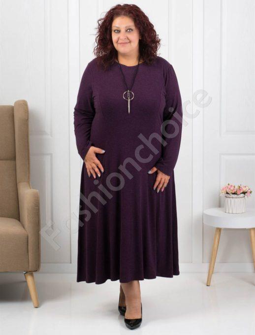 Φόρεμα σε μελιτζανί χρώμα με δώρο κολιέ κωδ 6085-35