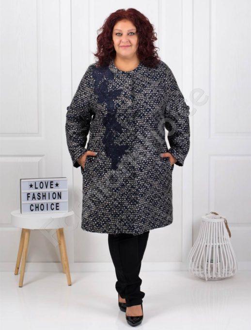 Μάλλινο παλτό plus size με κέντημα κωδ 3748