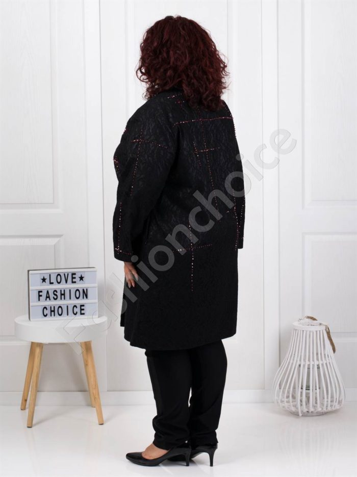 Μαύρο παλτό με λεπτομέρεια στρας κωδ 3579