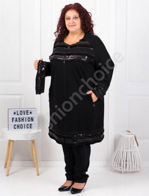 Plus size παλτό σε μαύρο με παγιέτες κωδ 3658