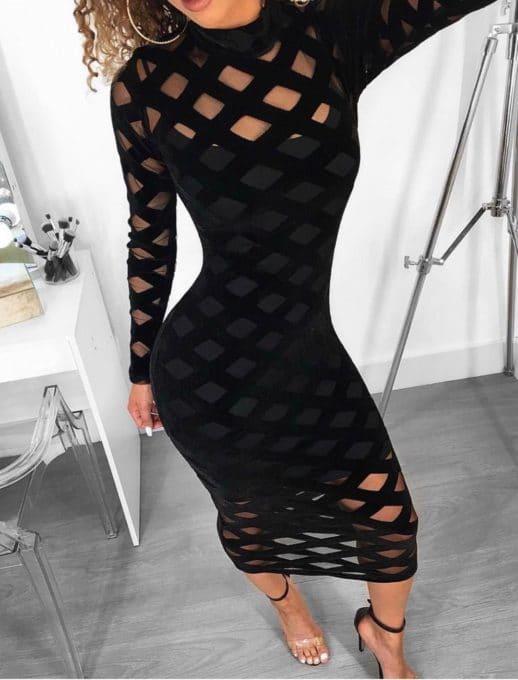 Μαύρο midi διχτυωτό φόρεμα κωδ 1114