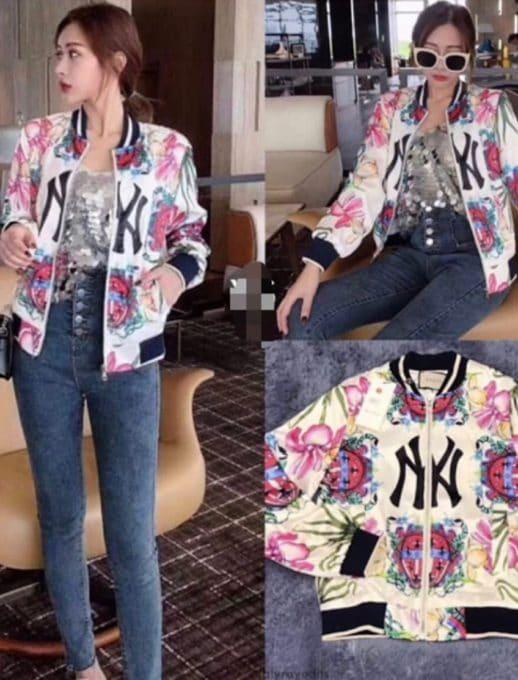 Floral bomber jacket σε εκρού κωδ 1243
