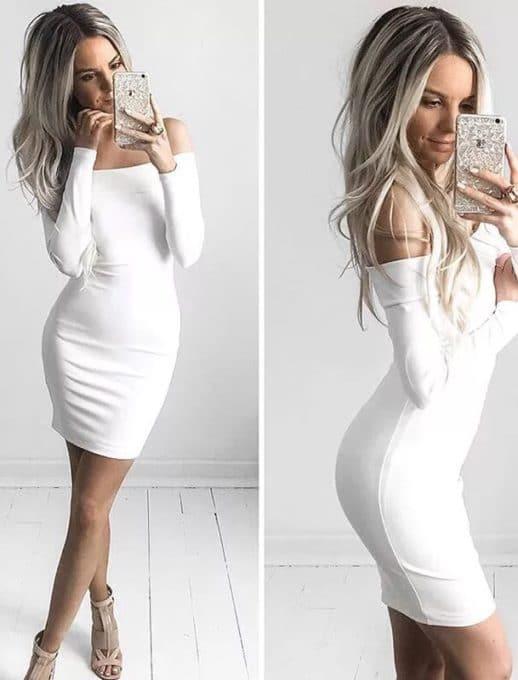 Έξωμο φόρεμα σε λευκό κωδ 254-1902