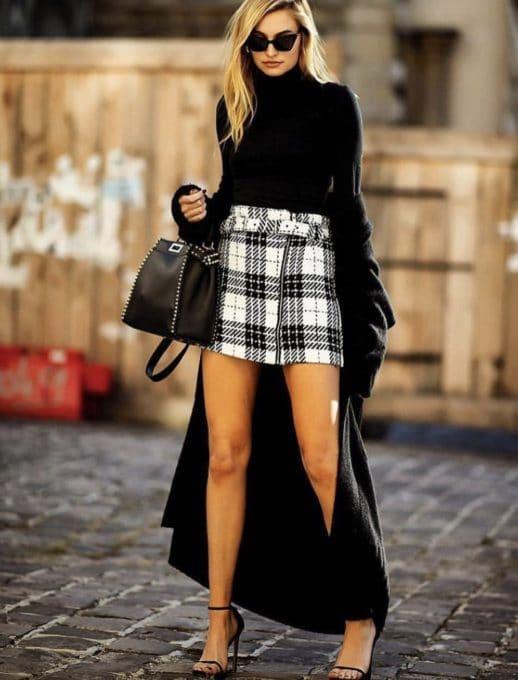 Mini φούστα ασπρόμαυρο καρό κωδ 561