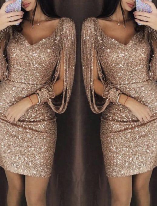 Mini γυαλιστερό φόρεμα σε πούδρα χρώμα κωδ 1137-1