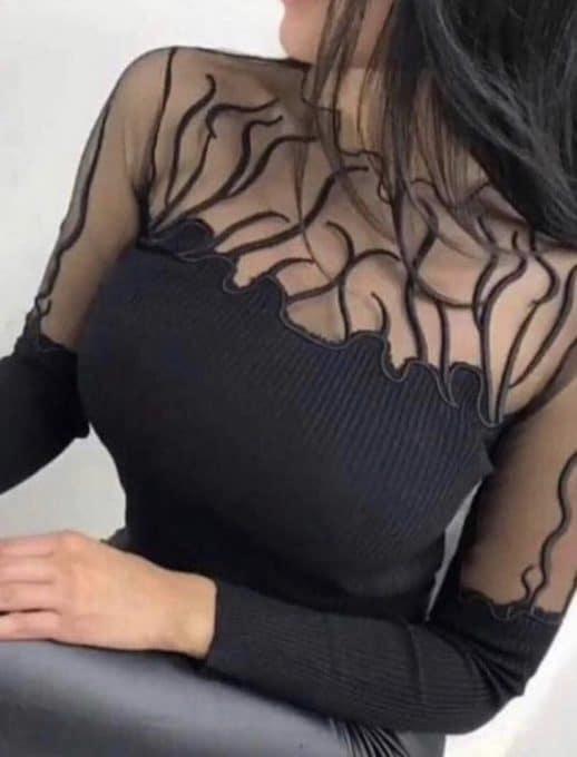 Μαύρη μπλούζα με διαφάνεια κωδ 844