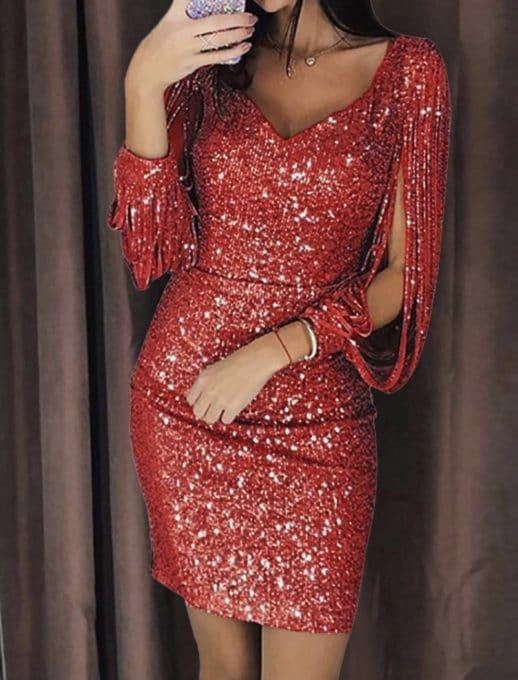 Mini κόκκινο φόρεμα με γυαλιστερό στρας κωδ 1137-2