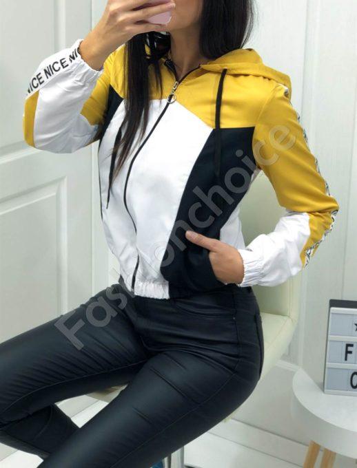 Jacket αδιάβροχο κίτρινη κουκούλα κωδ 1258