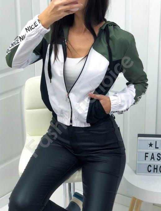 Jacket αδιάβροχο με χακί κουκούλα κωδ 1258-1