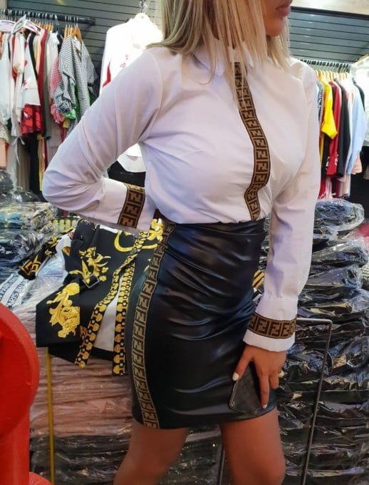 Φούστα με όψη δερμάτινη σε μαύρο με ρίγα