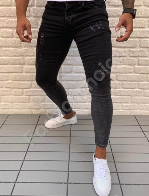 Black τζιν skinny fit με ξεβάματα κωδ 547