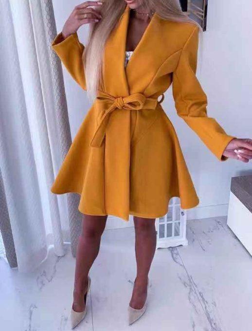Κίτρινο midi παλτό σε στιλ ρόμπας κωδ 289