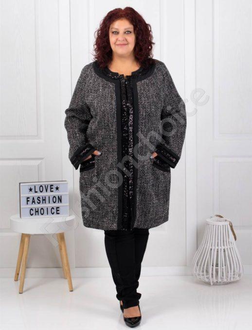 Γκρι μάλλινο παλτό με μαύρες γυαλιστερές λεπτομέρειες κωδ 3673-1