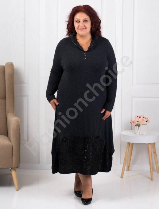 Μαύρο φόρεμα με διακοσμητικά κουμπιά κωδ 1139