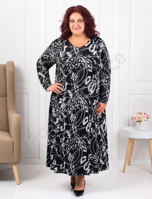 Μακρύ ασπρόμαυρο φόρεμα με σχέδια κωδ 1110-1