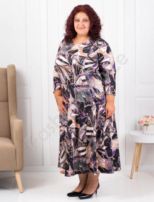 Εμπριμέ φόρεμα με μωβ λεπτομέρειες κωδ 093