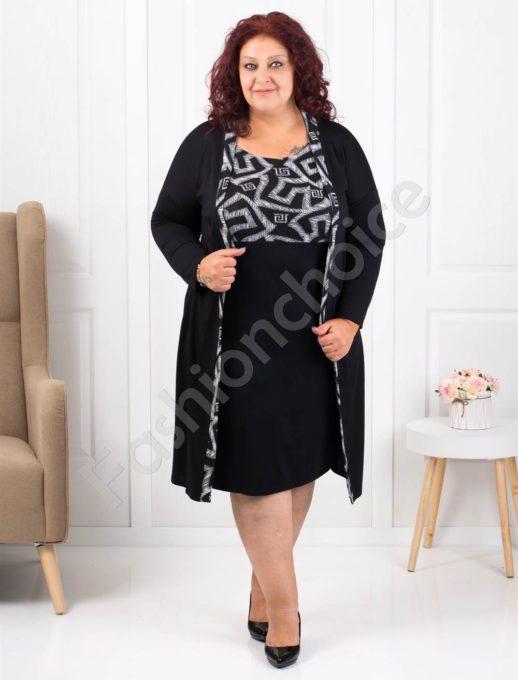 Φόρεμα μαύρο με γεωμετρικά σχέδια σε γκρι κωδ 1300-3