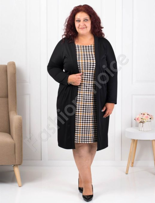 Μαύρο φόρεμα με καρό λεπτομέρεια κωδ 1300-2