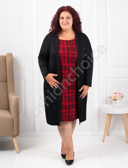 Μαύρο φόρεμα με κόκκινη λεπτομέρεια κωδ 1300-1