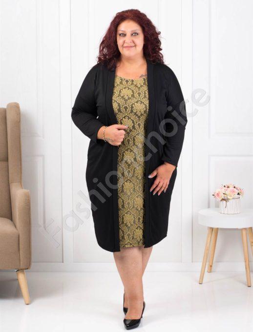 Φόρεμα μαύρο με χρυσό τύπωμα δαντέλα κωδ 1300-4