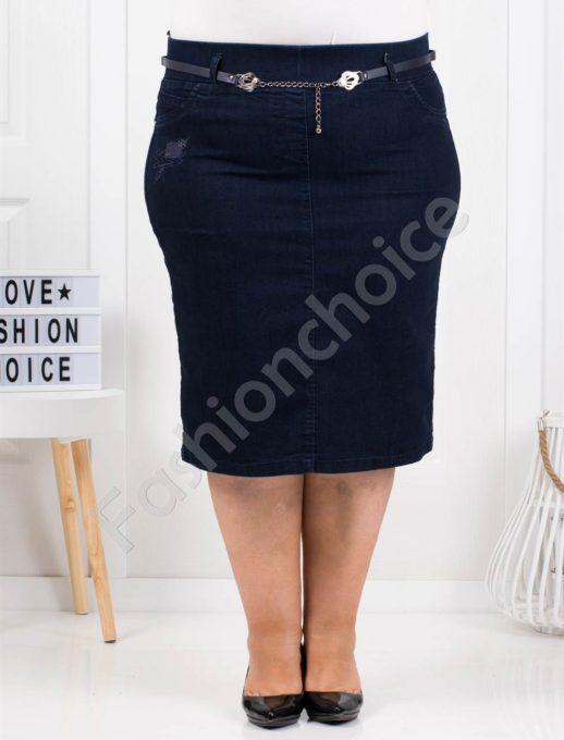 Μίντι τζιν φούστα σε σκούρο μπλε κωδ 4025