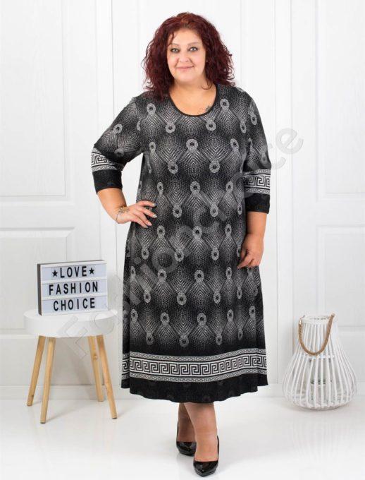 Μακρύ μαύρο φόρεμα με σχέδια σε λευκό κωδ 7078-1