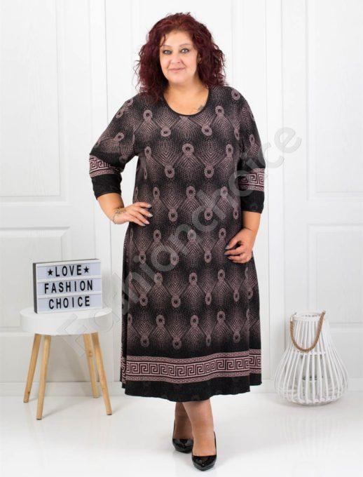 Μακρύ μαύρο φόρεμα με σχέδια και μπορντούρα κωδ 7078-2