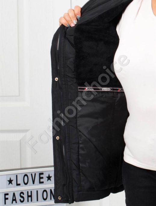 Μαύρο αδιάβροχο μπουφάν με κουκούλα κωδ 5204