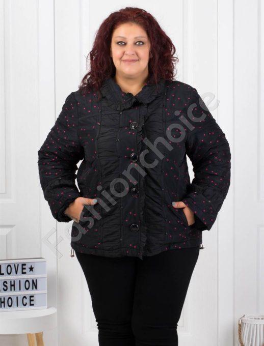 Μαύρο μπουφάν κοντό με κουμπιά και φούξια πουά κωδ 60872