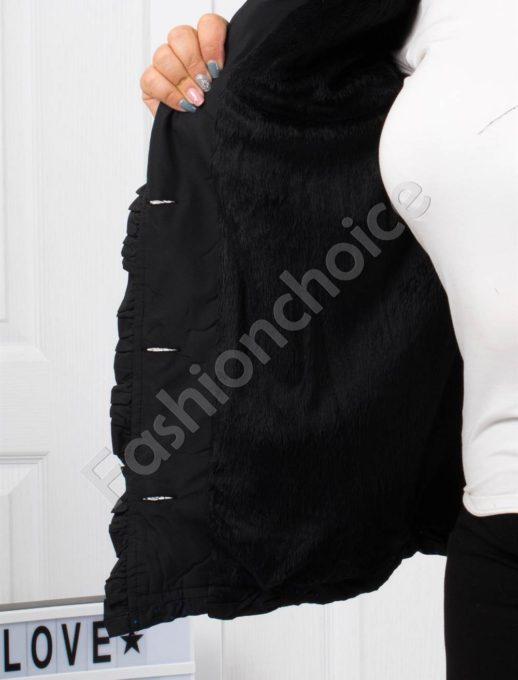 Μαύρο μπουφάν κοντό με κουμπιά και μικρά πουά κωδ 60872-2