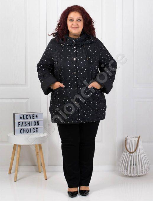 Μαύρο μπουφάν διπλης οψεως με λευκά πουά κωδ 61340-1