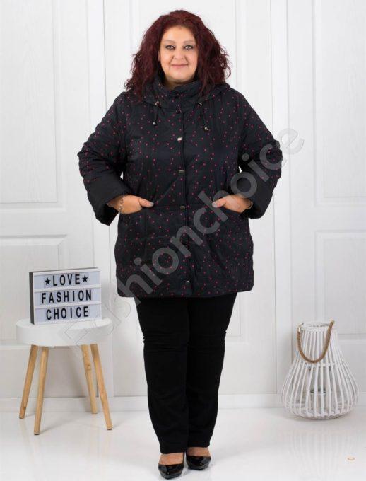 Μαύρο μπουφάν διπλης οψεως με φούξια πουά κωδ 61340