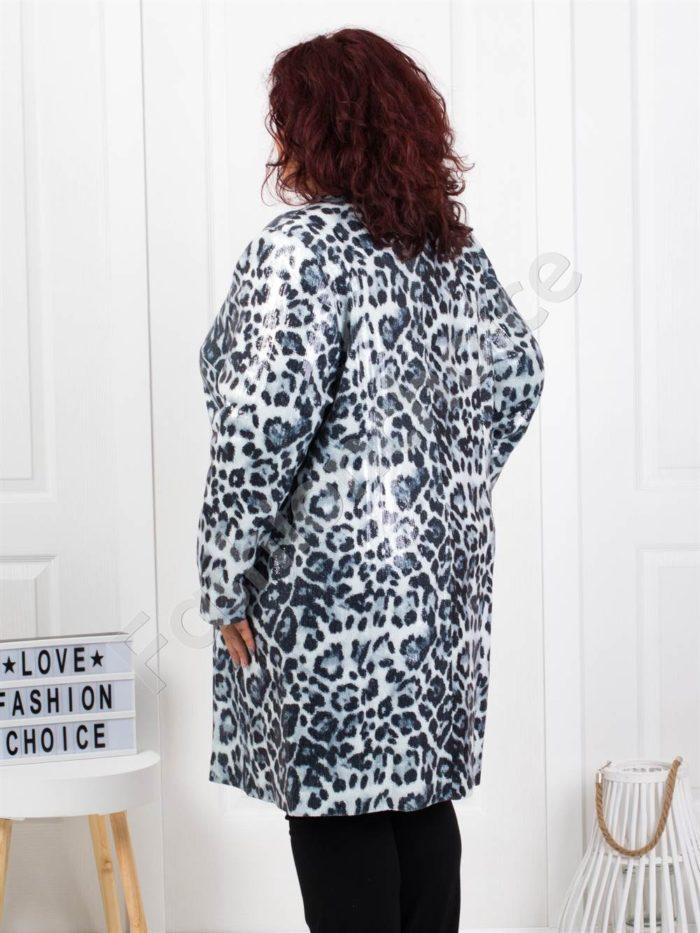 Παλτό με animal σχέδιο σε λευκό κωδ 3729