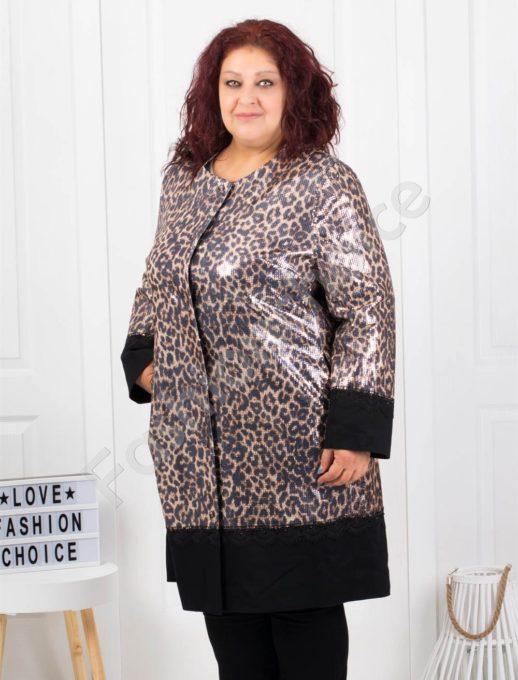 Γυαλιστερό παλτό με μαύρες λεπτομέρειες κωδ 3733