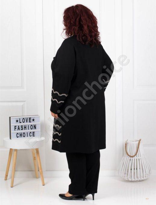 Μαύρο παλτό κεντημένο με χάντρες κωδ 3653