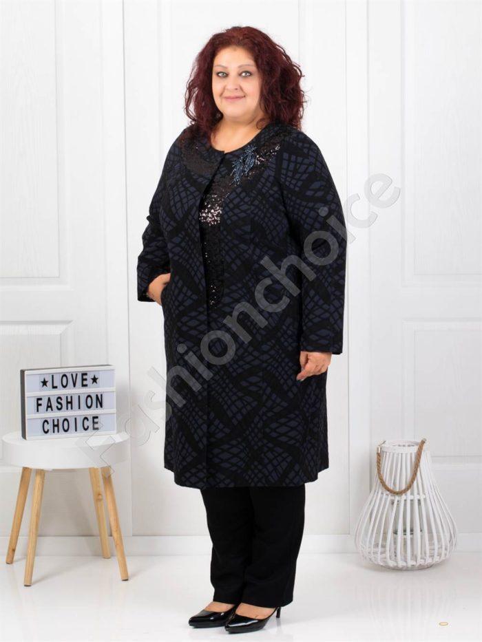 Μπλε παλτό κεντημένο με λαμπερές χάντρες κωδ 3666