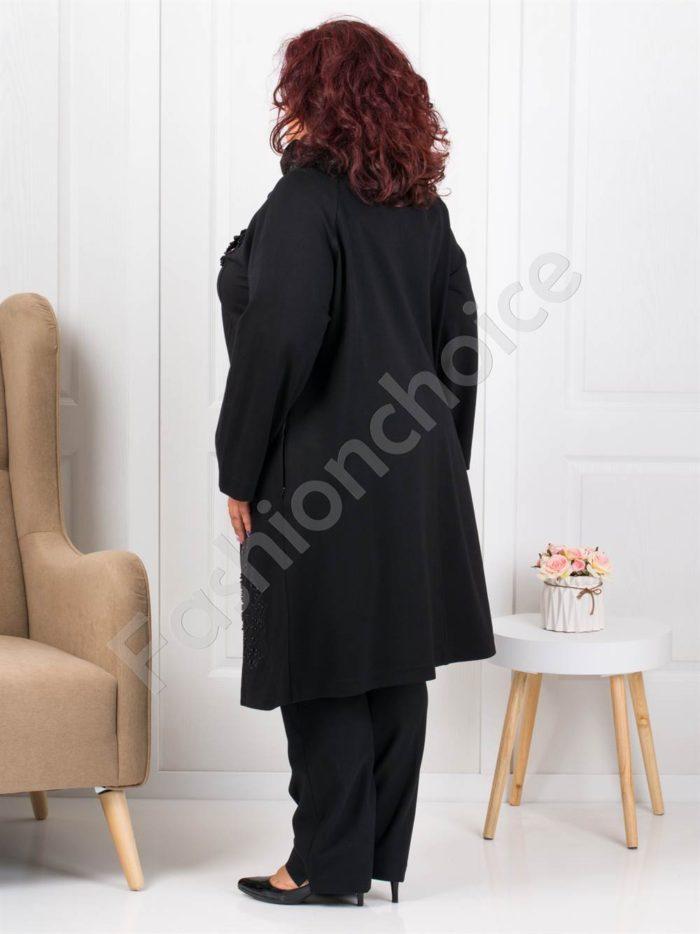 Μαύρο μαντό με σατέν λεπτομέρεια στη λαιμόκοψη κωδ 3641